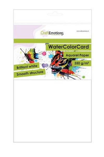 CraftEmotions Watercolor Papier brillant weiss 350gr A5 - 10 Bögen