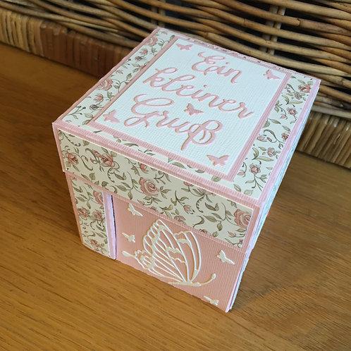 Explosionsbox mit integrierten Geschenkböxli, Ein kleiner Gruss, rosa