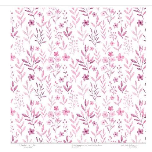 Designpapier rosa Wassermalfarbe Blumen