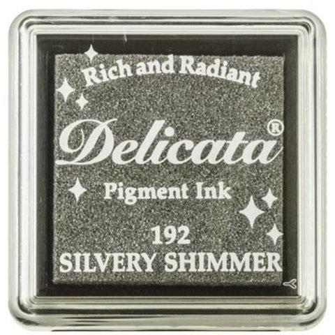 Stempelkissen mini (3x3cm) Silber Schimmer