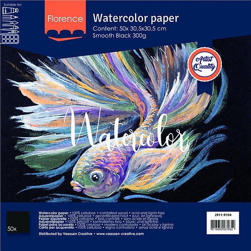 Florence  Watercolor Paper schwarz 300g smooth 30,5x30,5cm