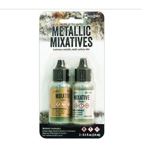 Tim Holtz Alcohol Inks Metallic Mixatives Gold und Silber
