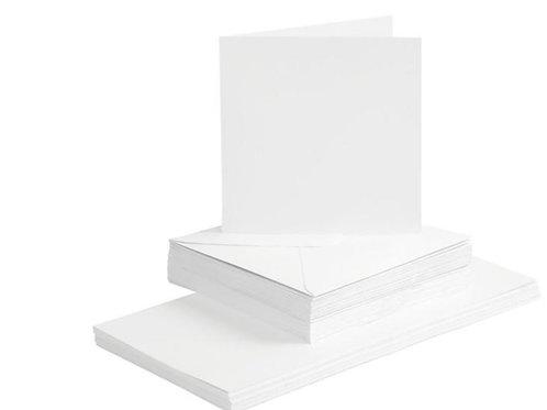 50 Klapp Karten 15x15 cm und 50 Kuvert weiss