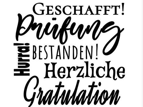 """Holzstempel Design by Susann """"Zur Prüfung"""" 5 x 5cm"""
