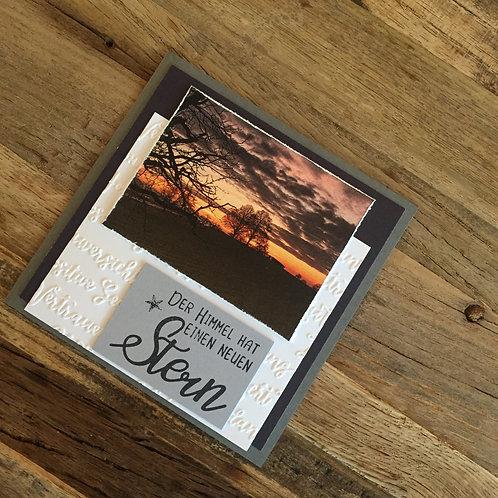 Trauerkarte mit Fotos vo hie! Der Himmel hat
