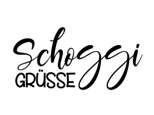 "Holzstempel by Isa ""Schoggi Grüsse"" 2x4 cm mit Stempelholz"