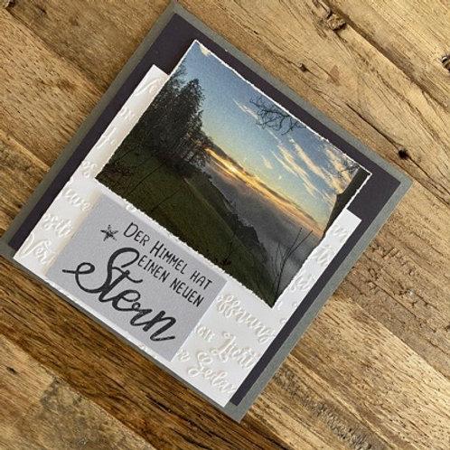 Trauerkarte mit Fotos vo hie! Der Himmel hat einen neuen Stern