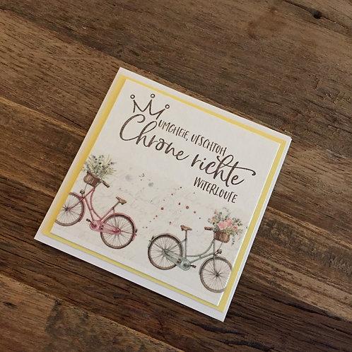 Mini Karte 9 x 9cm Chrone richte......gelb/Fahrrad