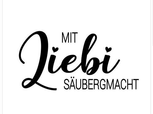 """Holzstempel by Isa """"Mit Liebi säuber gmacht"""" 6x3cm"""