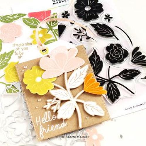 Bundel Set Clear Stamps und Stanzformen Bold Blossoms von The Stamp Market