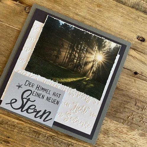 Trauerkarte mit Fotos vo hie! Der Himmel hat...