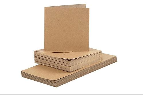 50 Klapp Karten 15x15 cm und 50 Kuvert kraft