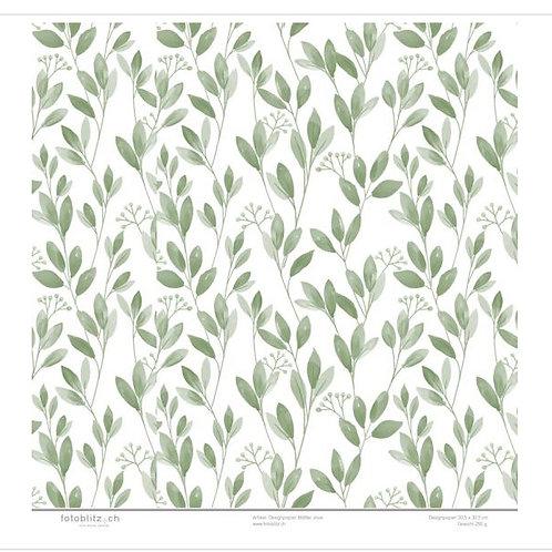 Designpapier Blätter olive 115