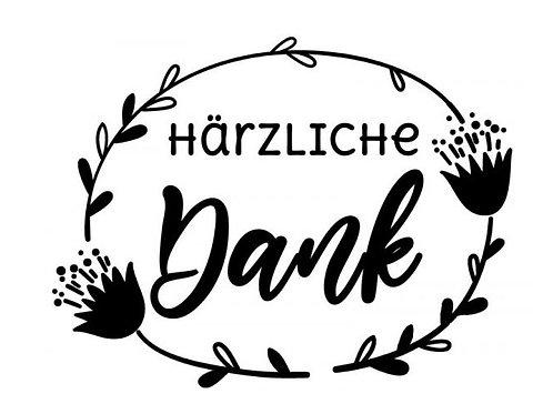 """Holzstempel Design by Susann """"Härzliche Dank"""" 7x5 cm"""