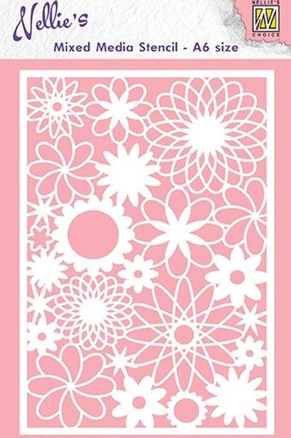 Nellies`s Schablone  A6 Blumen 2