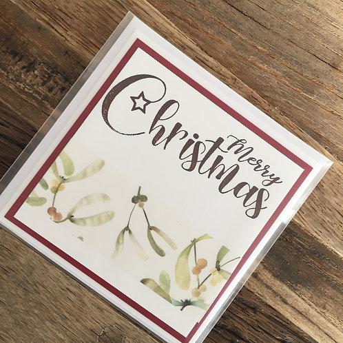 Mini Karte 9 x 9cm, Merry Christmas, grün