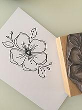 Holzstempel Blume, handgemacht, Stempel