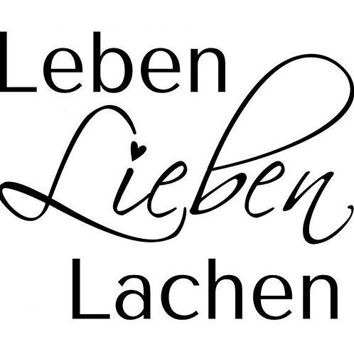 """HolzStempel by Isa """"Leben, lieben, lachen 6x5cm"""