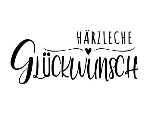 """Holzstempel by Isa """"Härzleche Glückwunsch"""" 7 x 3cm"""