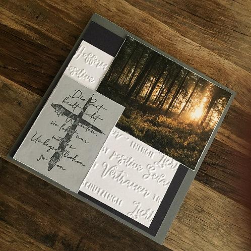 Trauerkarte mit Fotos vo hie!Die Zeit heilt......Stempel Kreuz