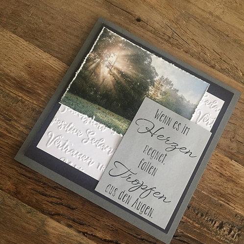 Trauerkarte mit Fotos vo hie! WENN ES IM HERZEN..... Batt auf Stein