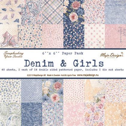 "Maja Design Papier Block 6""x6"" Denim & Girls 48 Blatt"