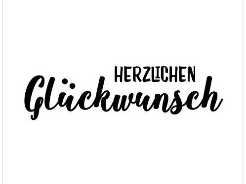 """Holzstempel Design by Susann """"Herzlichen Glückwunsch"""" 7x2 cm"""