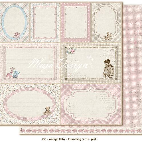 Maja Design Papier -Vintage Baby - Journaling cards pink