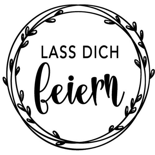 "Holzstempel by Isa ""Lass dich feiern"" 4x4cm"