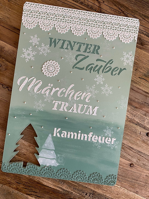 Holzschild: Winterzauber