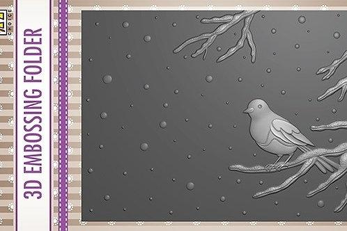 Prägeform 3D Vogel auf Ast