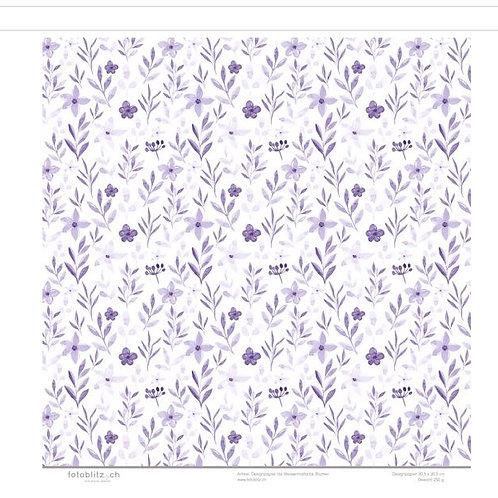 Designpapier lila Wassermalfarbe Blumen