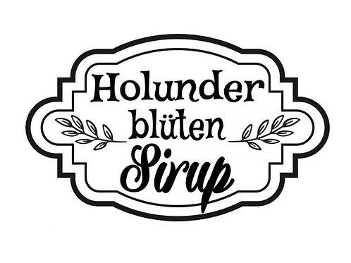 "Holzstempel Design by Susann ""Holunderblütensirup""6 x 4 cm"