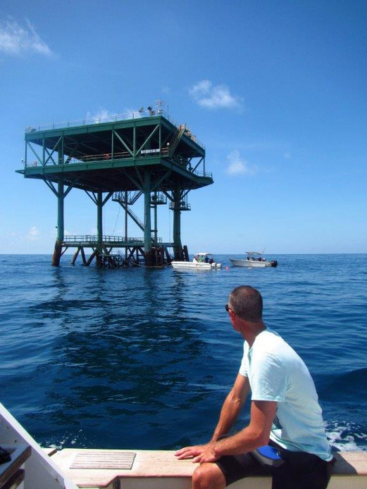 Checkig out an oil rig dive site.