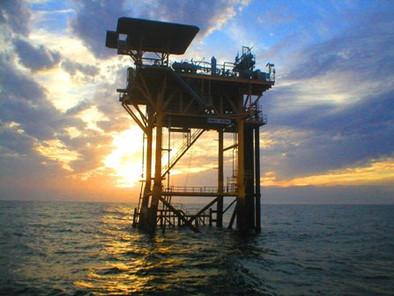 Oil Rig at sun set.