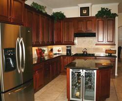 Custom made kitchen cabinets.