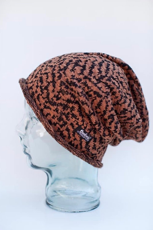 Knit Chocolate Slouchy Beanie (unlined)