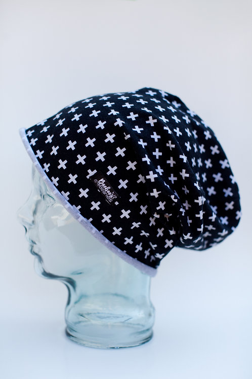 Small Crosses Slouchy Beanie- Unlined