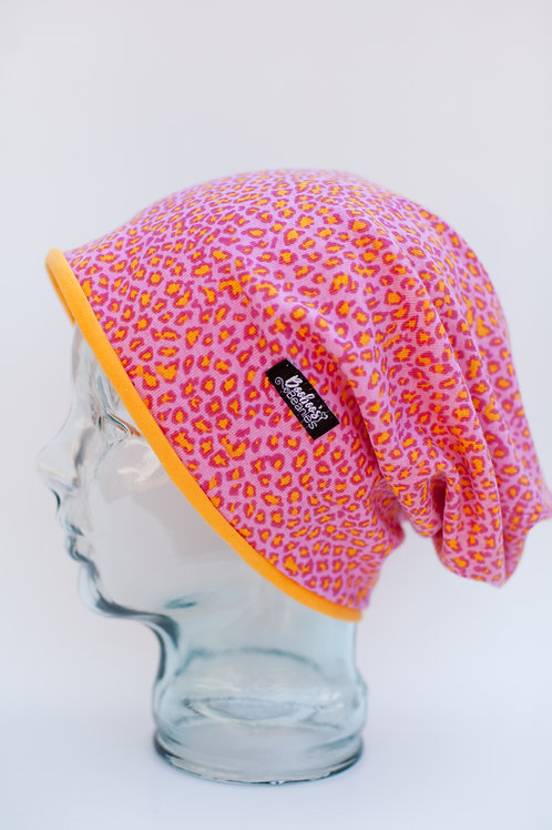 Pink and Yellow Leopard Slouchy Beanie