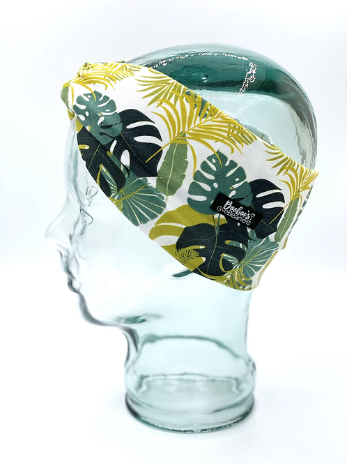 Tropical Palm Leaves Headband- White