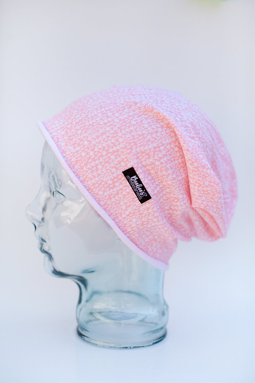 Coral flowers Slouchy Beanie (unlined)