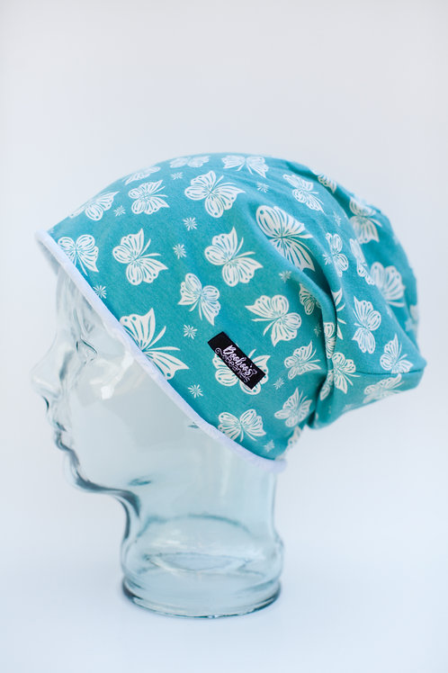 Teal Butterflies Slouchy Beanie (Unlined)