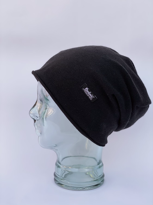 Black Olive Slouchy Beanie (lined)