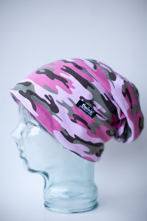 Pink Camouflage Slouchy Beanie