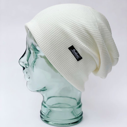Ribbed beanie- Pearl white (lined)