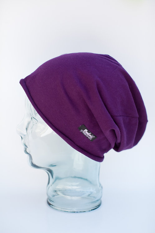 Solid Purple Slouchy Beanie (unlined)