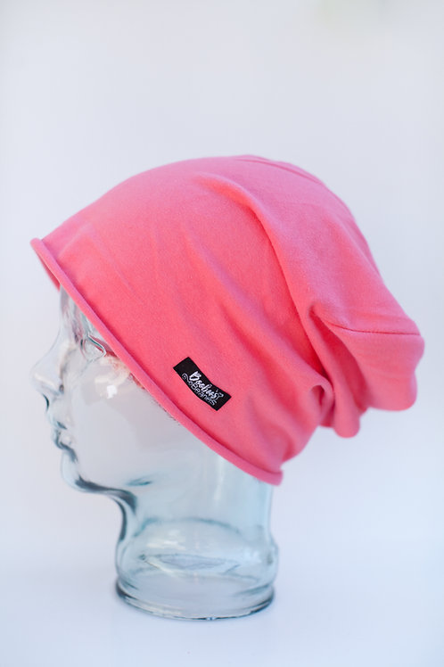 Solid pink- light pink slouchy beanie (unlined)