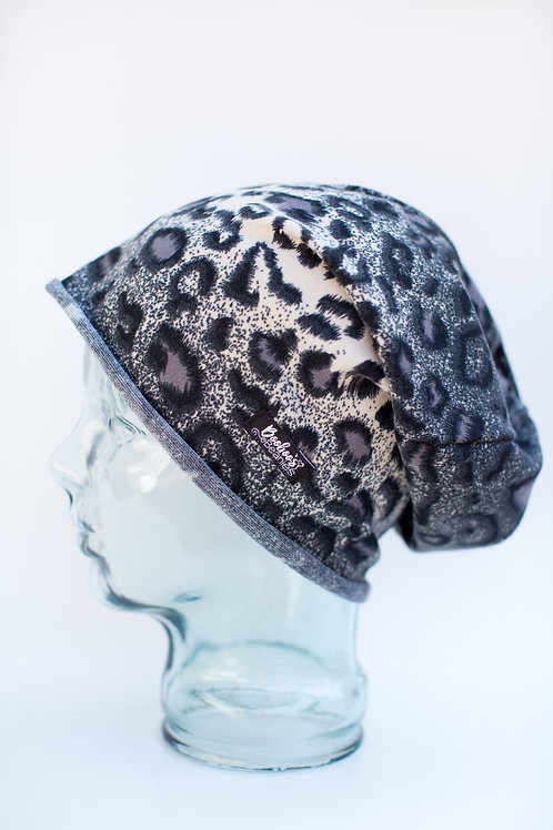 Black and White Leopard Slouchy Beanie