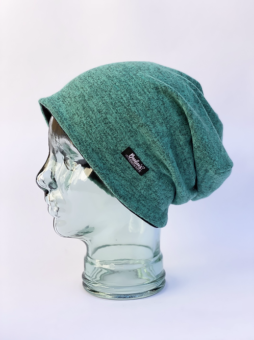 Soft teal slouchy beanie (lined)