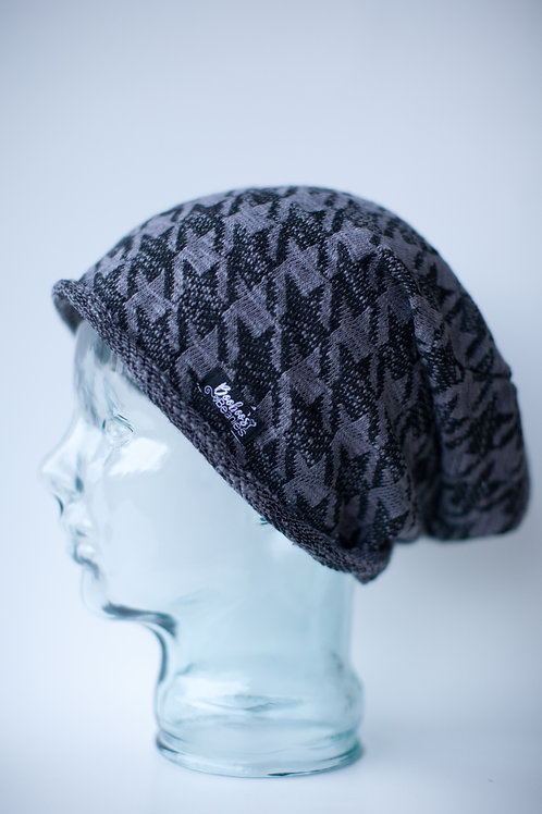 Grey Houndstooth Slouchy Beanie- unlined